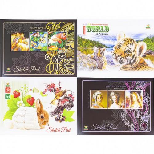 Альбом для рисования А4 20л, клееный, «МИКС», 90/м2г, белые листы