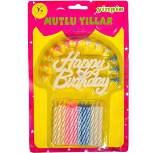 "Свечки для торта ""Happy Birthday"" ⌀8мм, длина 8см (12шт)"