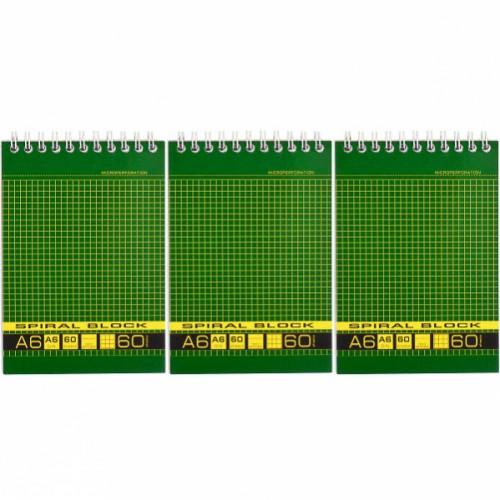 Блокнот А6 60л., клетка, тв.подл. , спираль, зеленый