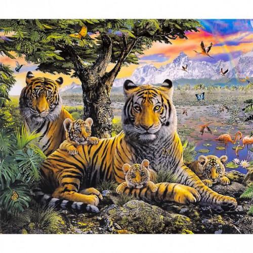 """Картина по номерам """"Семья тигров"""" 40*50см"""