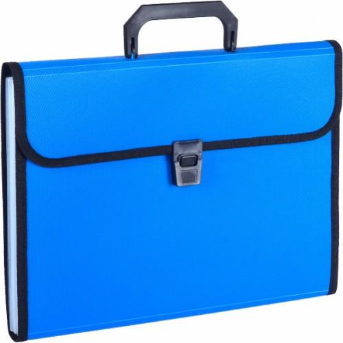 Портфель А4 пластиковый на 13 отделений с ручками, черный/синий