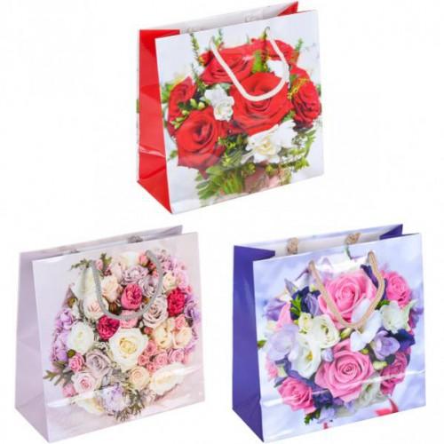 Пакет цветной чашка «Цветы микс-2» 16*16*7см, глянцевый, ручки шнурок