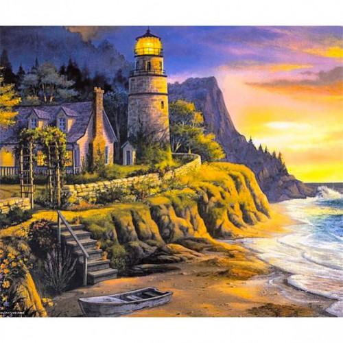 "Картина по номерам ""Пейзаж-маяк, дом, море"" 40*50см"