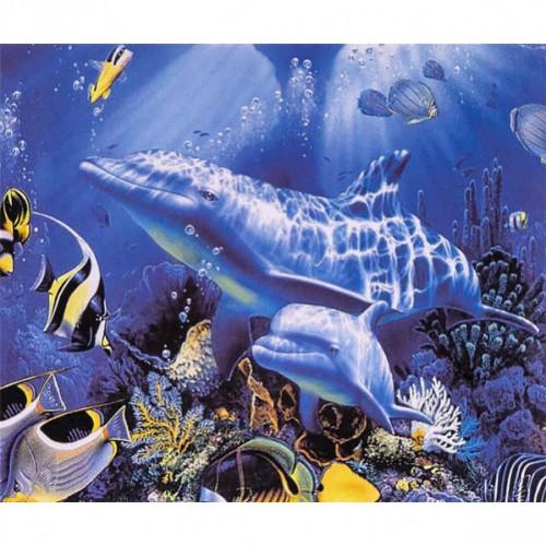 """Алмазная живопись 30*40см """"Под водой-дельфины"""" 9+"""