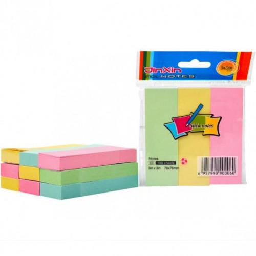 Блок для заметок 3*3мм 100л с липким слоем цветной