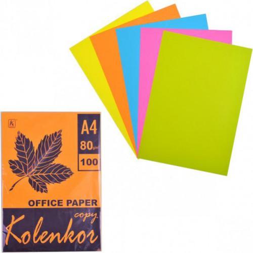 Бумага для ксерокса А4 5цв, НЕОН 100л, 80г/м2