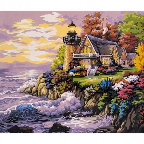 "Картина по номерам ""У моря - маяк, домик на берегу"" 40*50см"