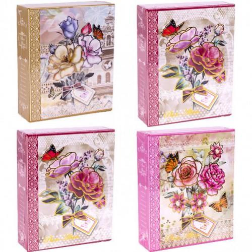 """Фотоальбом А6 """"Букет цветов с бабочкой"""" 40 фото 14*16,5см в картонном футляре"""