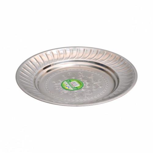 Тарелка металлическая круглая с узором Ø22см
