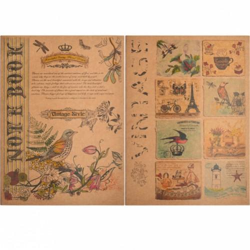 Книжка записная KRAFT A4, 36л, клетка, цвет бумаги-кремовый