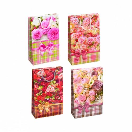 """Пакет подарочный средний """"цветочный микс Розы"""", глянцевый, ручки шнурок 27*16*5см"""