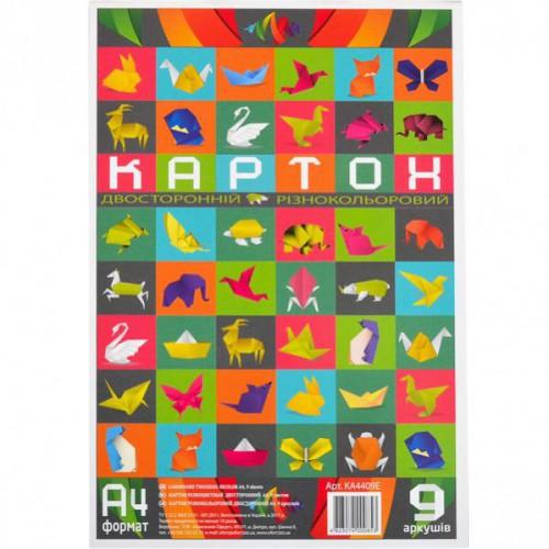 """Цветной картон разноцветный А4 2хсторон. 9л, 200г/м2 """"Офорт"""""""