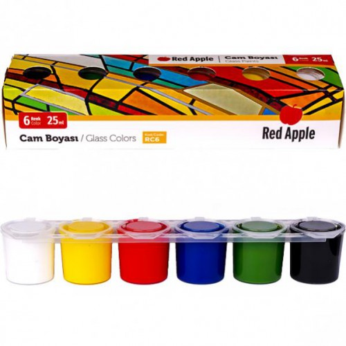 """Краска для рисования и декора по стеклу и зеркальным покрытиям 6цв*25мл """"Red Apple"""""""