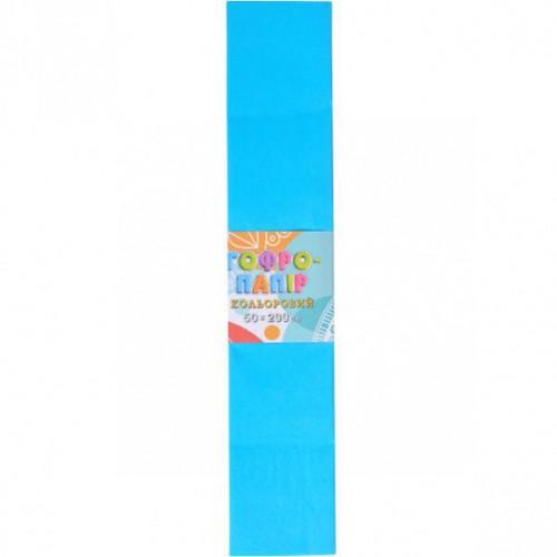 Гофрированная бумага 50*200см, голубой, 17г/м2 20%