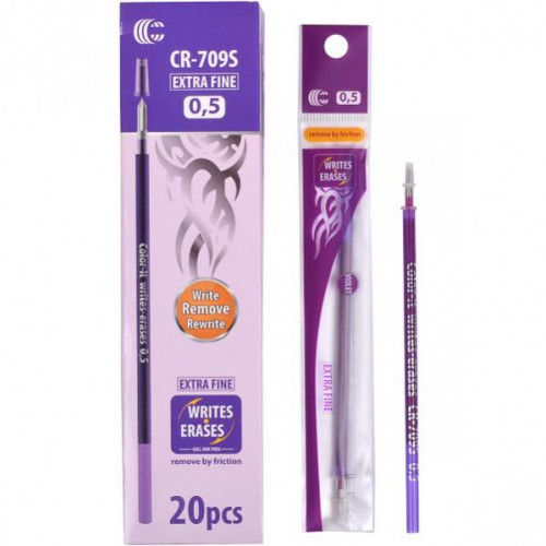 """Стержень гелевый для ручки CR-707F  """"пишет-стирает"""", 0,5мм, фиолетовая"""