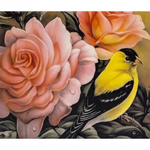 """Картина по номерам """"Птица и цветы"""" 40*50см"""