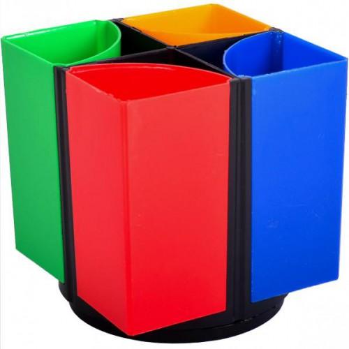 Стакан для ручек цветной пластиковый, вращающийся