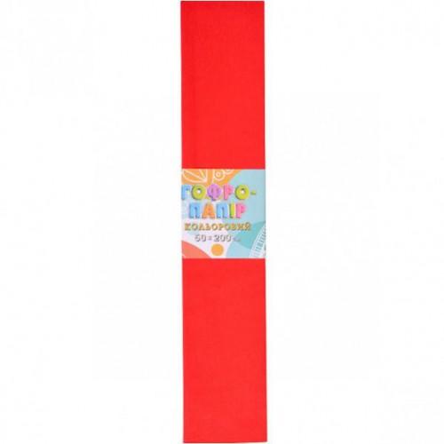 Гофрированная бумага 50*200см, красная, 17г/м2 20%