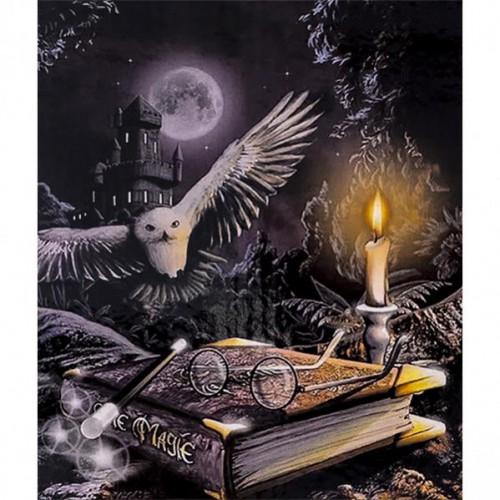 """Картина по номерам """"Ночь...свеча...сова-магия"""" 40*50см"""