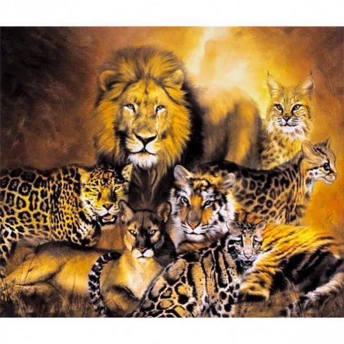 """Картина по номерам Хищные кошки"""" 40*50см"""