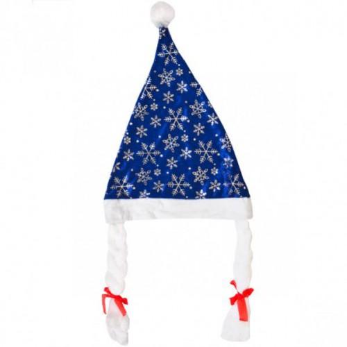 Шапка Снегурочки синяя с белой окантовкой и косичками, флис