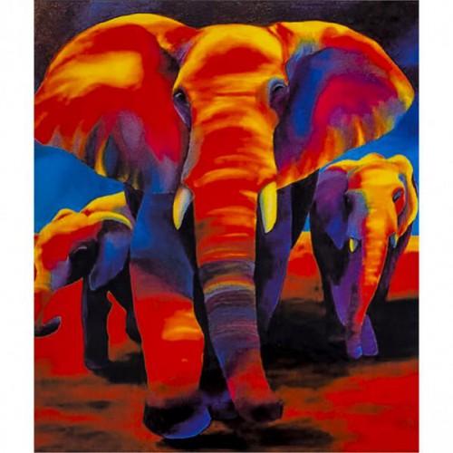"""Картина по номерам """"Семья слонов"""" 40*50см"""