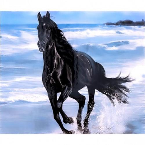 """Алмазная живопись 40*50см """"Черная лошадь"""" 9+"""