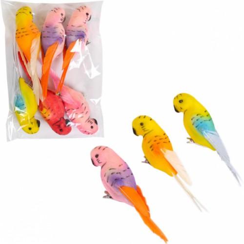 Птичка декоративная «Попугай цветной» на заколке, 15см