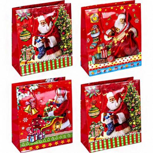Пакет новогодний «Дед Мороз с подарками»18*21,5*8см
