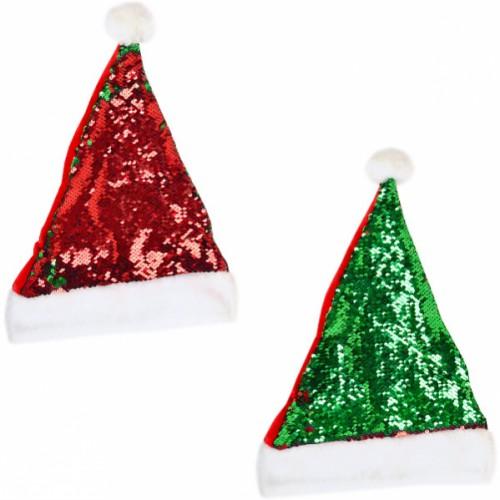 Шапка «Деда Мороза» с пайетками 1 сторона