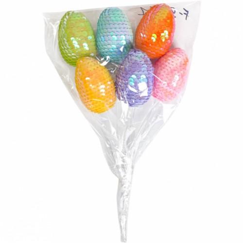 Набор Яйца декоративные 6шт с пайетками на палочке