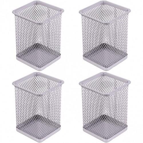 Стакан для ручек - металлическая сетка-квадрат, 8*8*9,5см, серебро