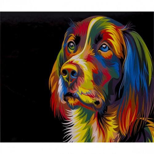 """Алмазная живопись 40*50см """"Собака-яркие линии"""" 9+"""