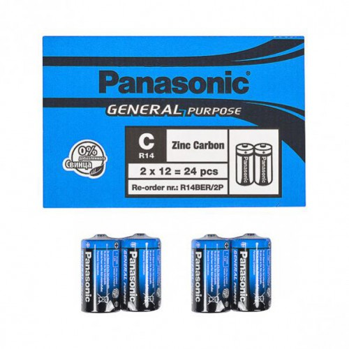 Батарейка Panasonic  R14BER/2p General Purpose 1,5V, тип zinc carbon