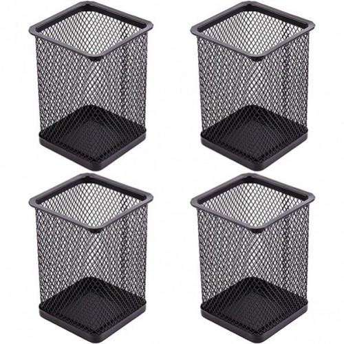 Стакан для ручек - металлическая сетка-квадрат, 8*8*9,5см, черный
