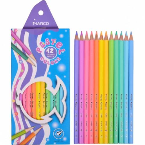 Карандаши шестигранные 12цв пастельные цвета 3,3мм MARCO