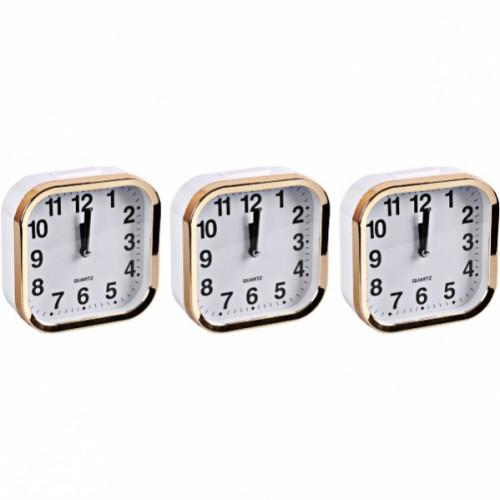 Настольные часы - будильник «Квадрат» золото 11*11*4см