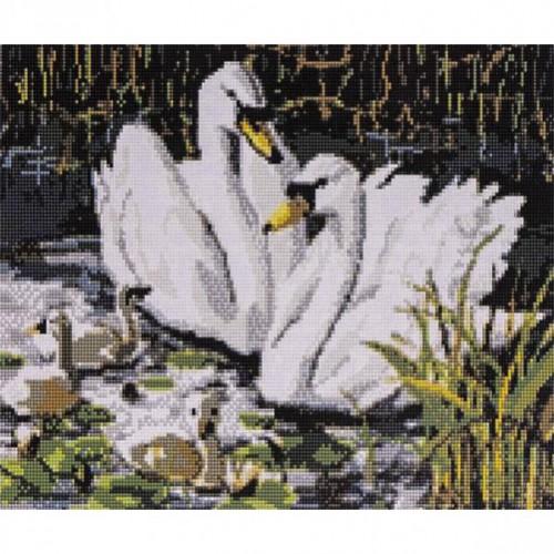 """Алмазная живопись 30*40см """"Семья белых лебедей"""" 9+"""