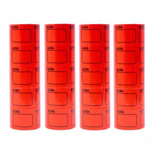 Ценник средний 2,5*3,5см «Ціна» с рамкой, красный (100шт)