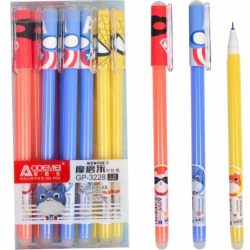 """Ручка гелевая """"пишет-стирает"""" """"Супер герои"""", 0,35мм, синяя"""