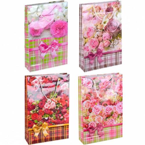Пакет подарочный большой «Розы» вертикальный 25*39*8см