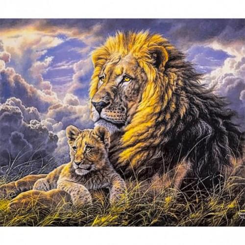 """Картина по номерам """"Лев с малышом львенком"""" 40*50см"""
