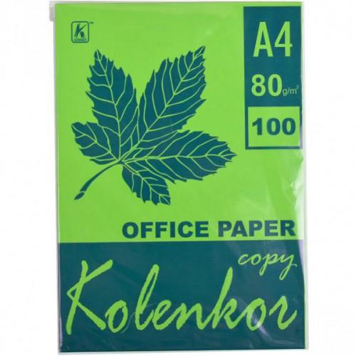 Бумага для ксерокса А4 100л, 80 г/м2 Насыщенная зеленая