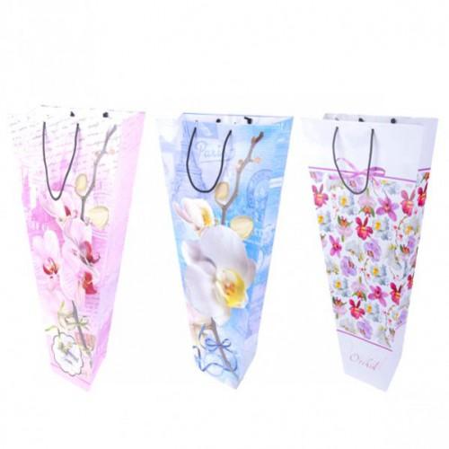 Пакет цветной для букетов «Орхидея» 53*27*12см