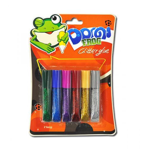 """Гель с блёстками 6цв*6мл полупрозрачный """"Dorgi frog"""""""