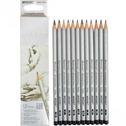 Набор чернографитных карандашей 12шт (F-8 В) серия Raffine MARCO