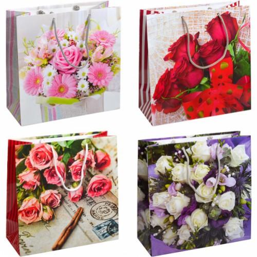 Пакет цветной квадрат «цветы» 24*24*10см