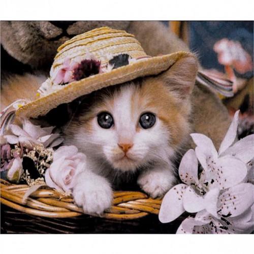 """Алмазная живопись 30*40см """"Котенок в соломенной шляпке"""" 9+"""