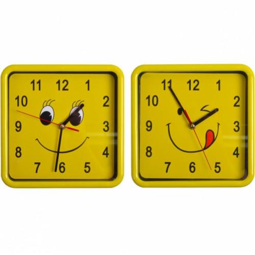 """Настенные часы """"смайл квадрат"""" 21,5*21,5*4см"""