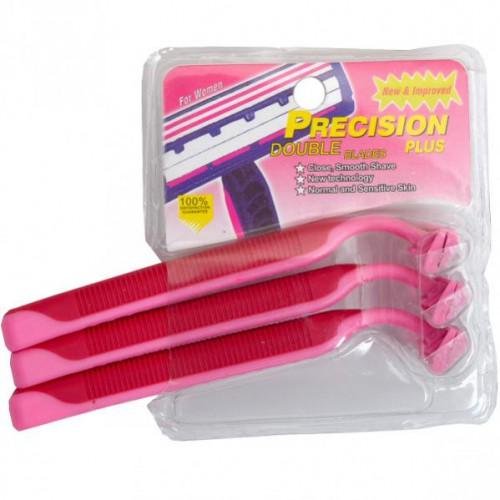 """Бритва одноразовая женская """"Precision"""" с проризиненной ручкой с 3мя стальными лезвиями"""